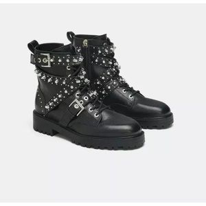 Zara black studded leather ankle boots with jewel